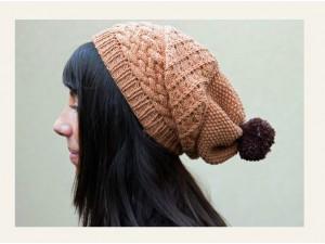 Bonnet femme tricoté main - Pain d'épice-