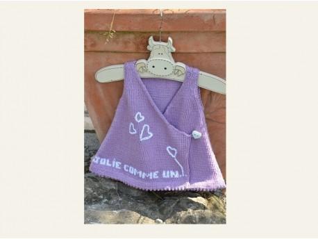 Robe tricotée main en coton et soie-Jolie comme un coeur- Gazouillis et cie