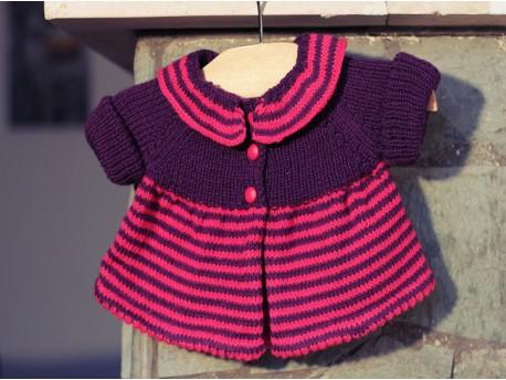 Brassière layette fille-tricotée main Cœur de Fuchsias