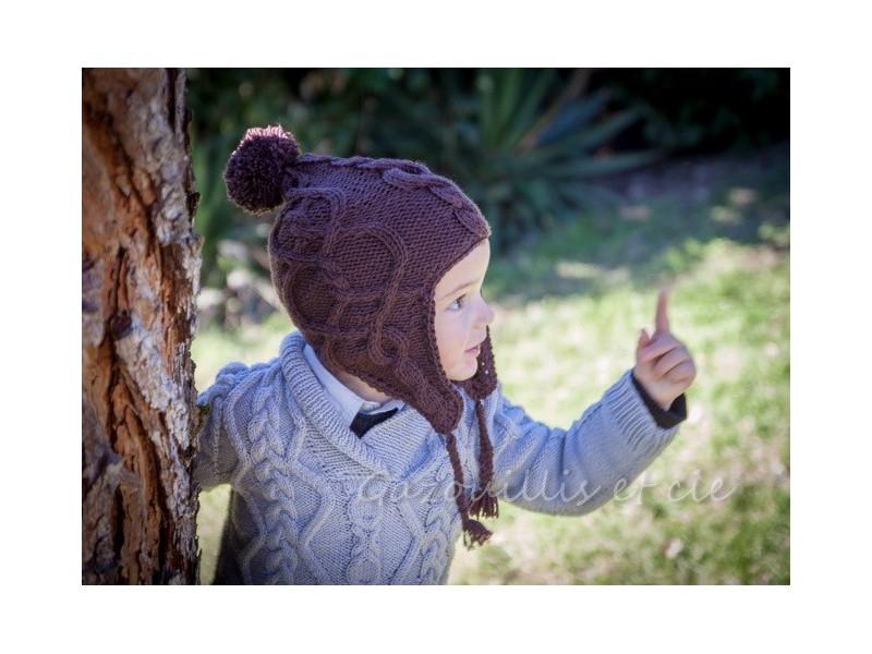 kit tricot bonnet peruvien