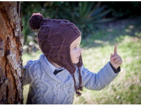 """Sehr Bonnet péruvien pour bébé point irlandais """"Tout Chocolat"""". RP56"""