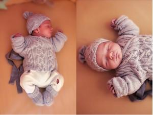 Ensemble de layette bébé Torsades Nordiques tricoté main-.