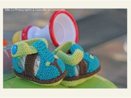 """Chaussons chaussures tricotés main """"Turquoise"""""""