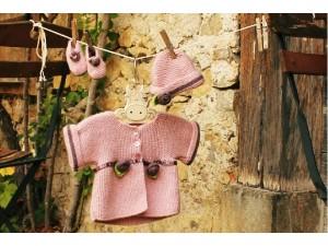 Ensemble pour bébé fille tricoté main Tendre Guimauve