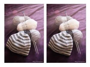 """Bonnet rayé gris et blanc tricoté au point mousse """"Classique-Chic"""""""