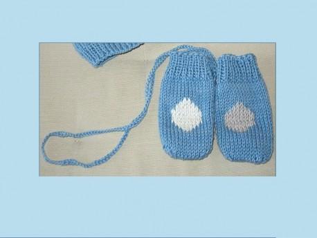 """Moufles bébé tricotées main en coton bio """"Poyures ou Raypois"""""""