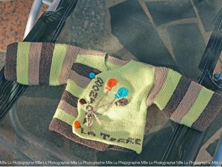 """Brassière Mérinos tricotée main point mousse et jersey """"Bonjour la Terre"""""""