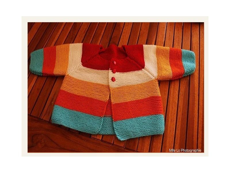 Mod le de brassi re tricoter au point mousse multi rayures - Modele de point au tricot ...