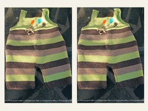"""Salopette- bébé tricotée main """"Bonjour la Terre"""""""