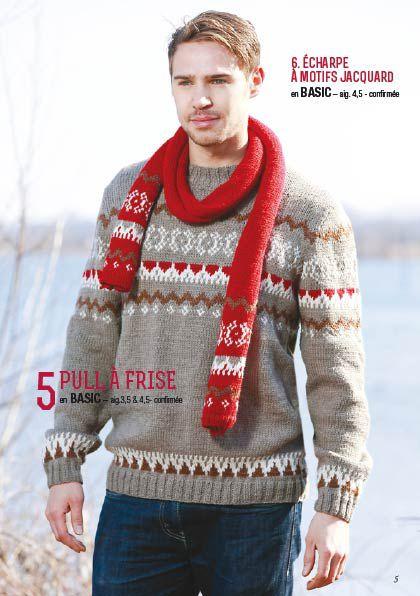 Modèle de pull jacquard à tricoter pour homme
