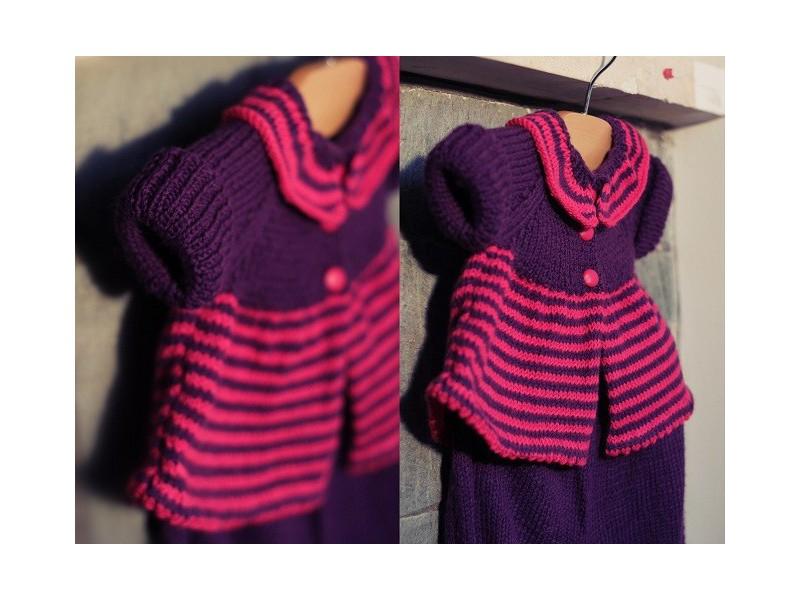 aeeacd9f68df2 Brassière layette fille-tricotée main Cœur de Fuchsias  Brassière Mérinos tricotée  main point mousse et jersey