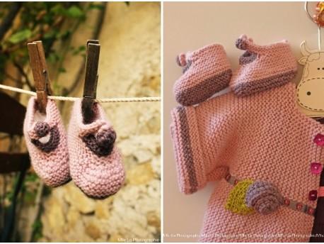 """Chaussons tricotés pour la maternité 100% Mérinos """"Tendre Guimauve"""""""