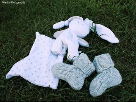 """Chaussettes bébé tricotées main """"Torsades Nordiques"""""""