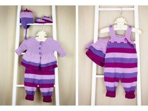 Macaron garde robe de naissance en laine