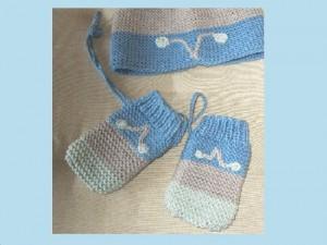 """Moufles mixtes """"Turquoise"""" pour bébé, coton bio"""