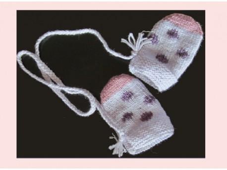 """Moufle tricotée main """"Jardin d'Hiver"""" fleurs rebrodées"""