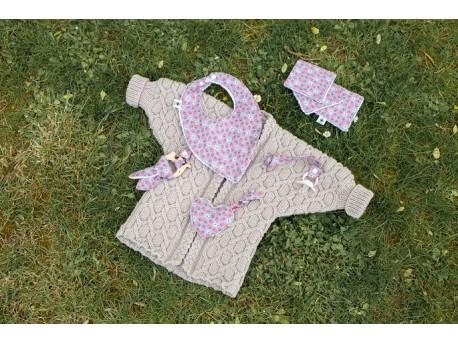 Kimono-Kimonounou veste tricoté en Mérinos pour bébé