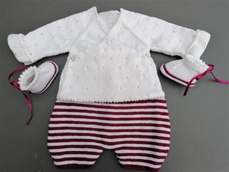 Sarouel tricoté main pour bébé fille Porcelaine